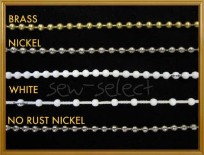 Roller blind chain - Metal silver brass & white beaded cord  SOLD PER 2 MTS